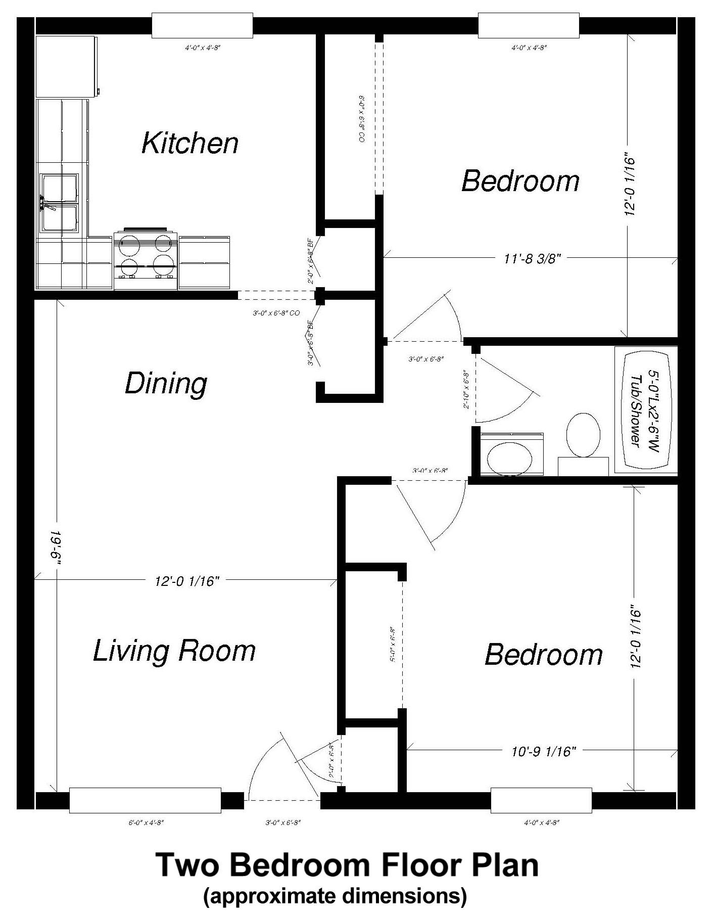 Two Bed Floor Plan