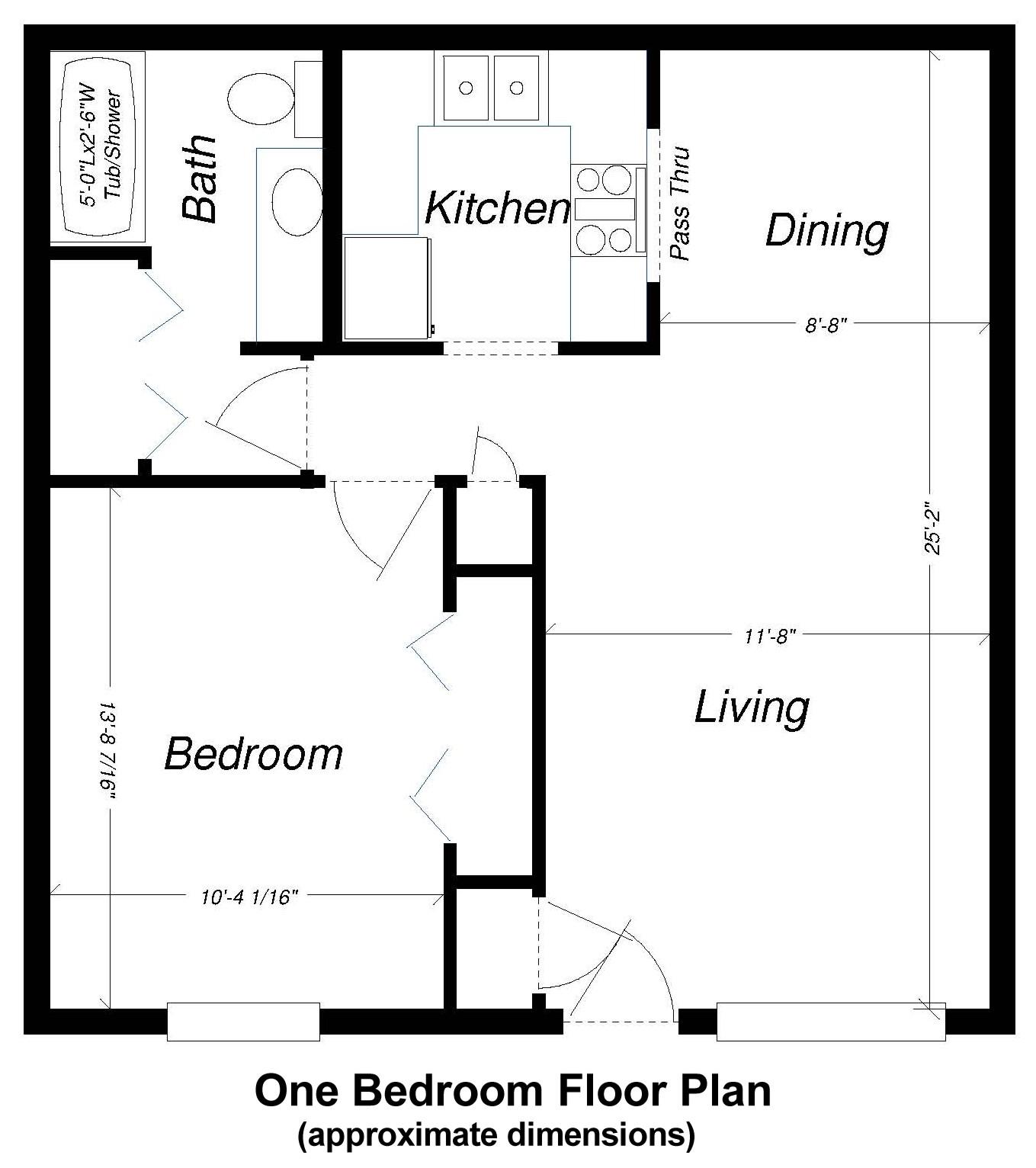 One Bed Floor Plan